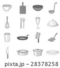Kitchen utensil icons set, gray monochrome style 28378258