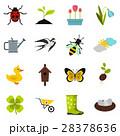 Spring icons set, flat style 28378636