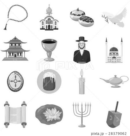 Judaism church traditional symbols icons setのイラスト素材 [28379062] - PIXTA