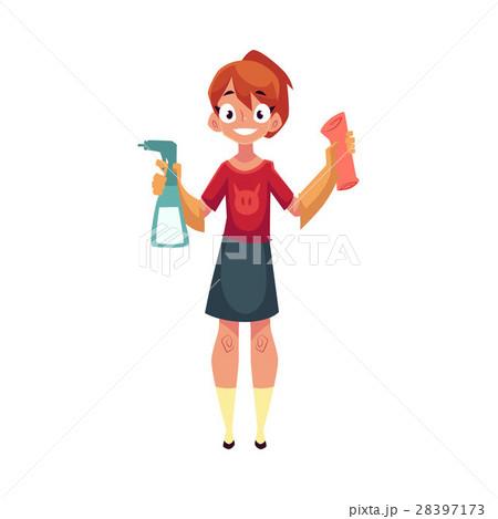Teenage girl helping to clean house, washing 28397173