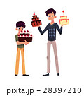 Father and son holding birthday cakes, getting 28397210