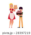 Mother and son holding birthday cakes, getting 28397219