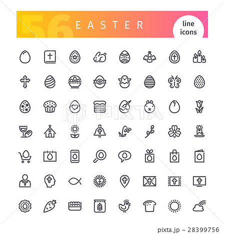 Easter Line Icons Set 28399756