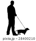 Silhouette of people and dog. Vector illustration 28400210