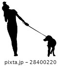 Silhouette of people and dog. Vector illustration 28400220