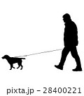 Silhouette of people and dog. Vector illustration 28400221