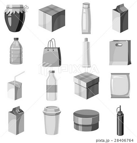 Package container icons set, gray monochrome style 28406764
