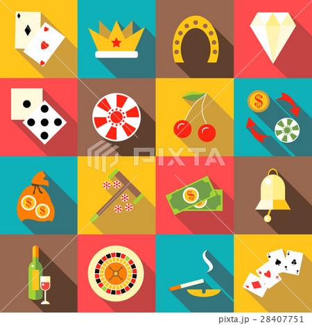 Casino icons set, flat style 28407751