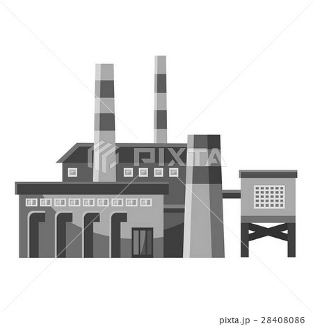 Big factory with pipes icon, gray monochrome style 28408086