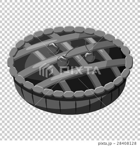 Pie with lattice top icon, gray monochrome style 28408128