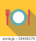Plate with fork and knife icon, flat style 28408170