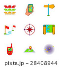 Find way icons set, cartoon style 28408944