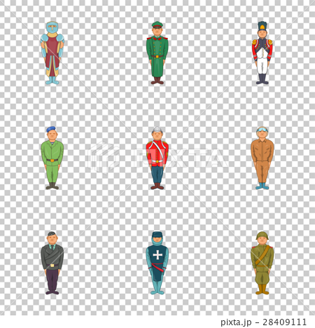Types of military icons set, cartoon style 28409111
