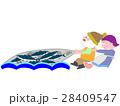 網漁作業の漁師夫婦 28409547