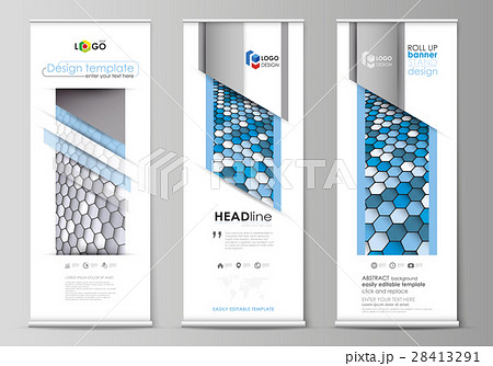 roll up banner stands flat design templatesのイラスト素材 28413291