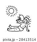 sweating boy using fan under sun 28413514