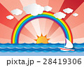 Boat sailing in the sea and rainbow 28419306