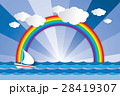 Boat sailing in the sea and rainbow when sunrise 28419307