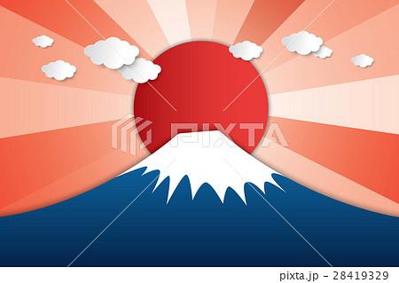 Paper art Fuji mountain and sunrise 28419329
