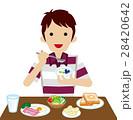男性 朝食 食べるのイラスト 28420642