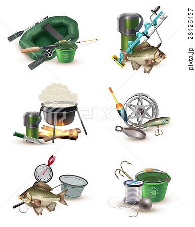 Fishing Gear Accessories 6 Icons Set のイラスト素材 [28426457] - PIXTA