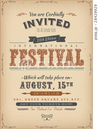 vintage festival invitation posterのイラスト素材 28429929 pixta