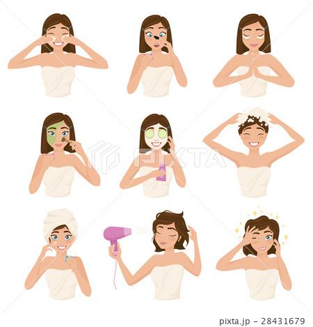 Woman Morning Routine Icon Set 28431679