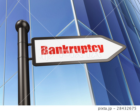 Money concept: sign Bankruptcy on Building 28432675