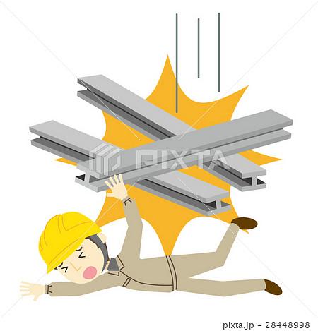 鉄柱の下敷きになる男性のイラスト素材 [28448998] - PIXTA