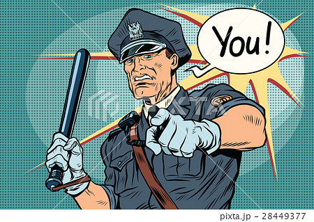 Police officer COP with a baton 28449377