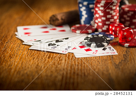 Cigar, chips for gamblings, drink and playing 28452131