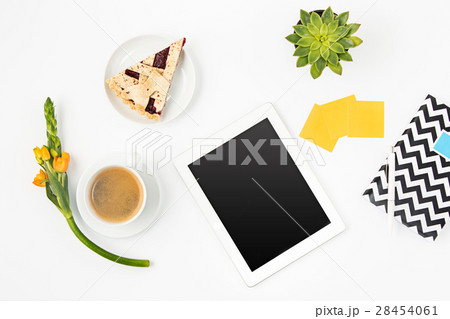 Top view of white office female workspace withの写真素材 [28454061] - PIXTA