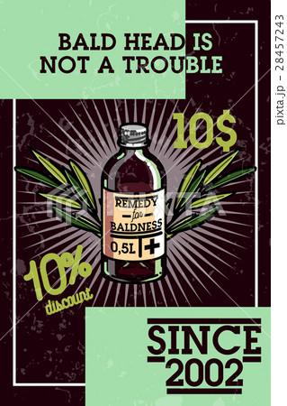 Color vintage remedy for baldness banner 28457243