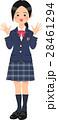 制服姿のバンザイする女子高生 28461294
