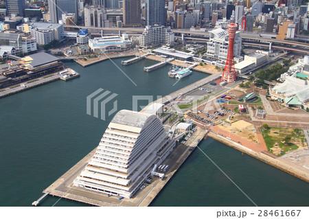 神戸ポートタワーとメリケンパークオリエンタルホテル 空撮 28461667