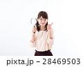 若い女性、虫眼鏡、笑顔 28469503