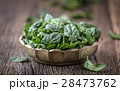 Fresh spinach leaves in retro bowl on wooden table 28473762