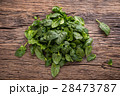 Fresh spinach leaves in retro bowl on wooden table 28473787