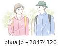 ハイキング 夫婦 シニアのイラスト 28474320