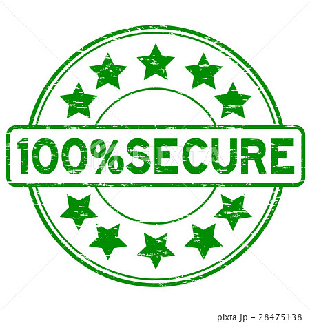 Grunge green 100 percent secure round rubber stamp 28475138