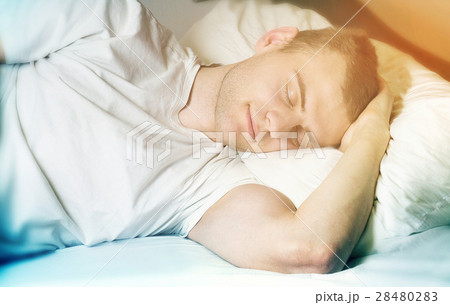 handsome guy hipster, unshaven, sleeping  28480283