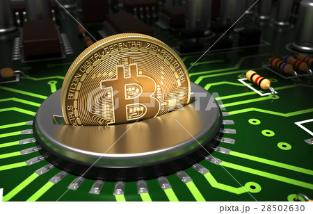 Putting Gold Bitcoin Into Coin Slot On Motherboard 28502630