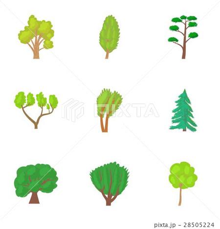 Varieties of trees icons set, cartoon style 28505224