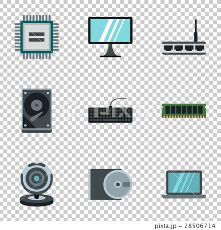 Computer setup icons set, flat style 28506714