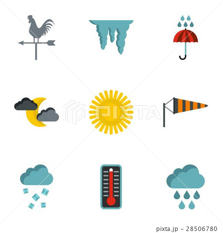 Kinds of weather icons set, flat style 28506780