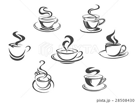 Coffee Cups Or Mugs Steam Vector Icons Setのイラスト素材 28508430