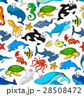 Cartoon sea fishes and animals vector pattern 28508472