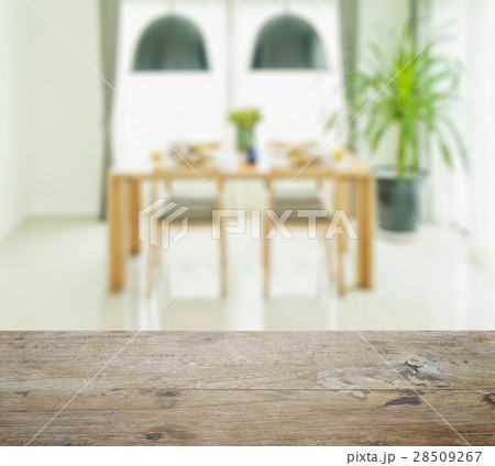 wooden table top with dining table and chairsの写真素材 [28509267] - PIXTA