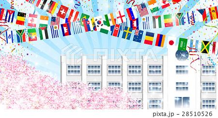 桜 学校 運動会 背景 のイラスト素材 28510526 Pixta