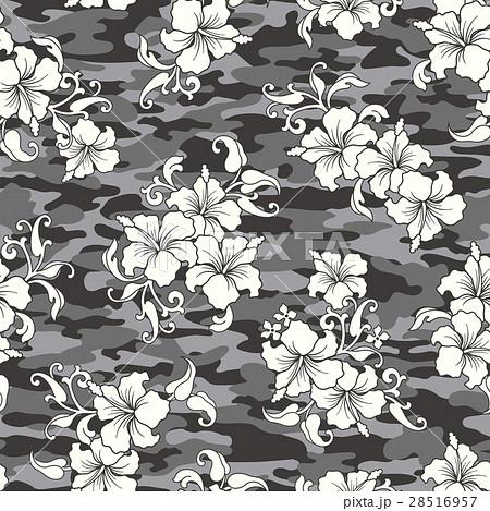 ハイビスカス と迷彩のパターン 28516957